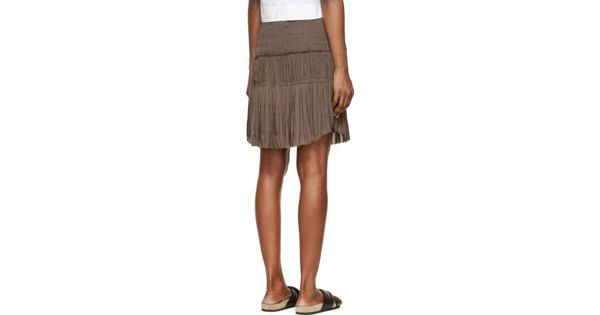 marant grey pleated gathered alma skirt in gray