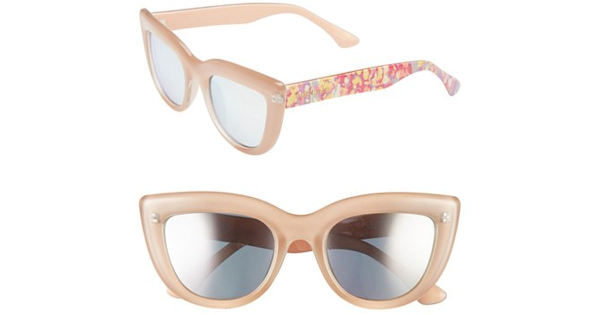 39c306e0eb0f6 Lyst - Isaac Mizrahi New York 50mm Cat Eye Sunglasses in Natural