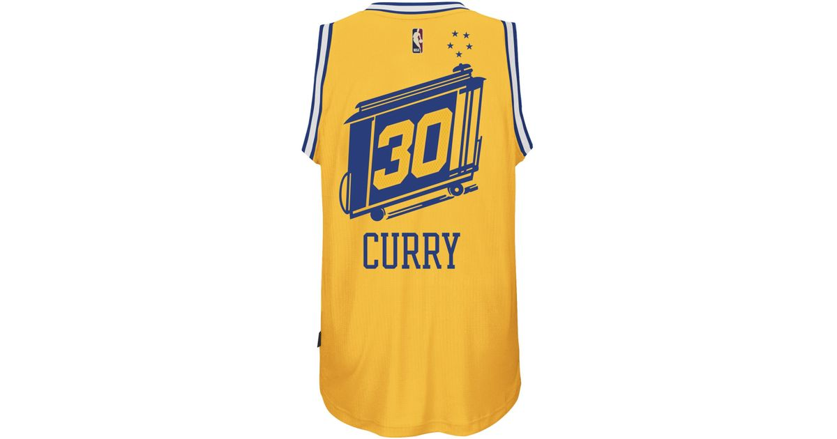 a62000d5a adidas Originals Men s Stephen Curry Golden State Warriors Hardwood Classic Swingman  Jersey in Yellow for Men - Lyst