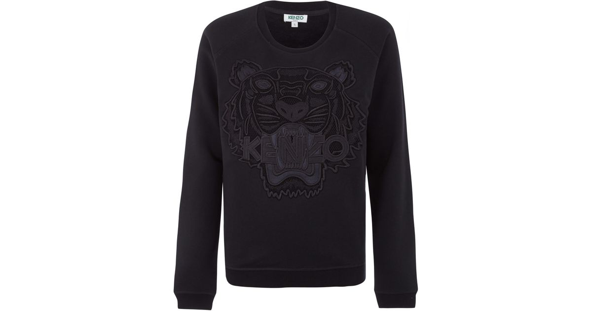 683507d4 KENZO Black Applique Tiger Sweatshirt in Black - Lyst