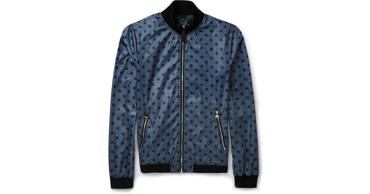 Men Gabbana Dot Lyst Bomber For Jacket Blue amp; In Dolce Reversible Polka HqwBa7Cx