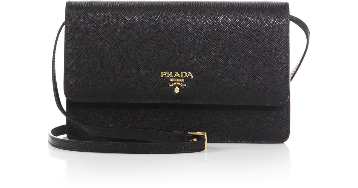 c0fbdff5f67 ... closeout lyst prada saffiano lux crossbody bag in black 3f446 b8f4e