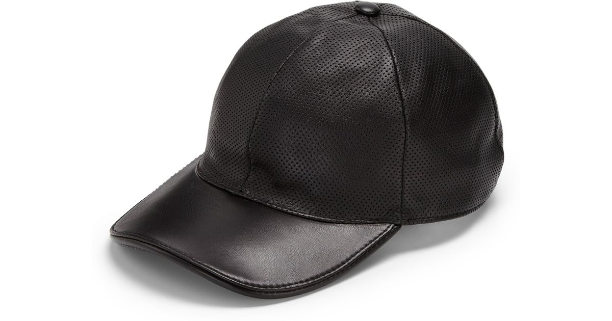 c5a1d179f20 Lyst Gucci Leather Baseball Hat In Black For Men