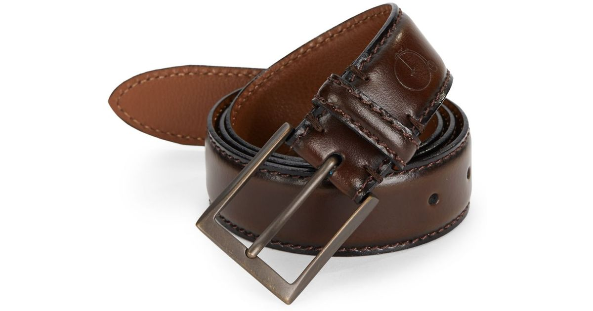 maker company stitched leather belt in brown for lyst