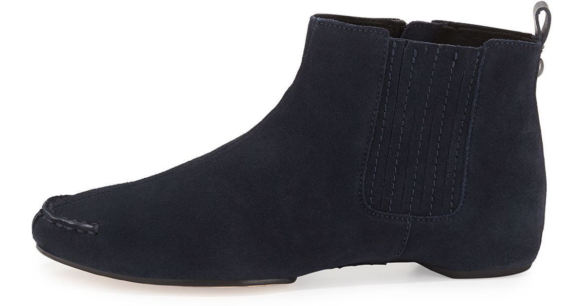 donald j pliner suede ankle boots in blue navy lyst