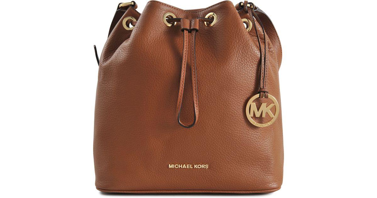 Lyst - Michael Kors Jules Lg Drawstring Bucket Bag in Brown e6e821914b083