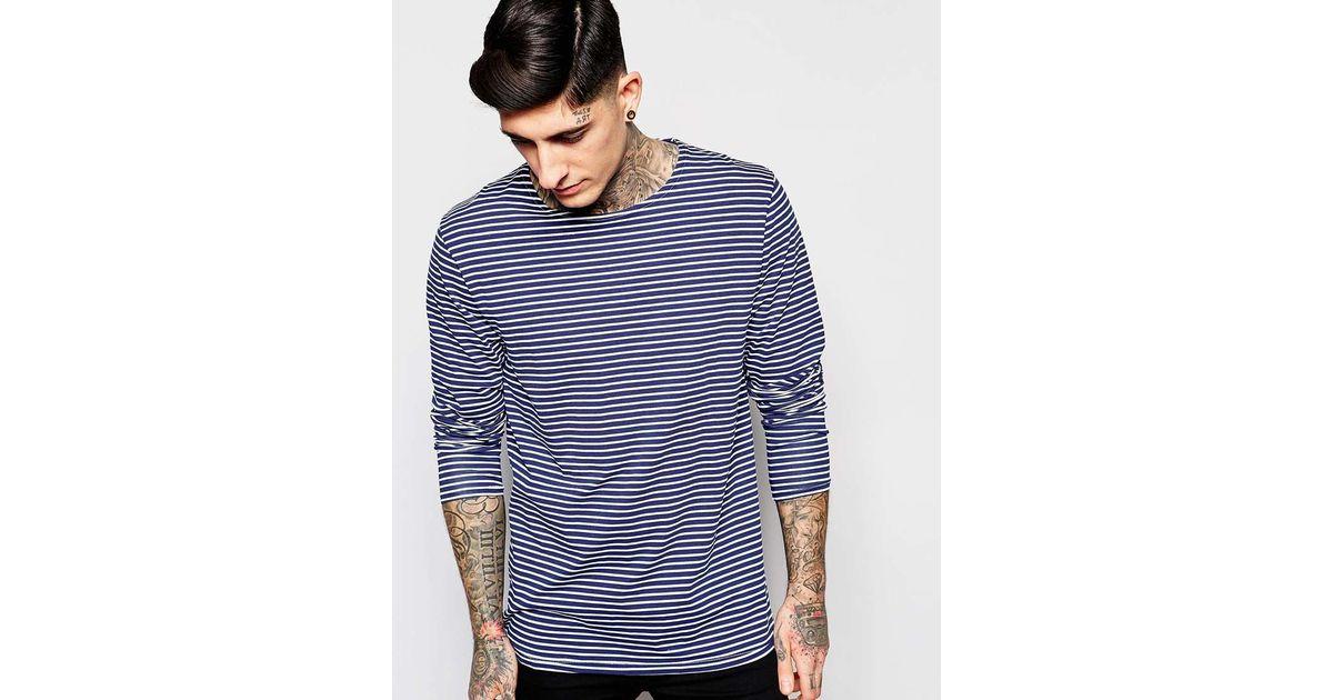 Scotch soda cotch soda t shirt with breton stripe in for Navy blue striped long sleeve shirt