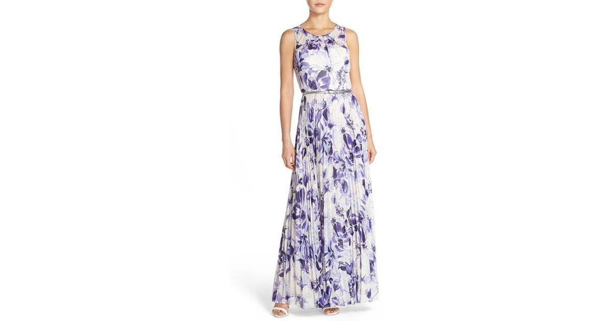 13e751d14c80 Eliza J Belted Print Chiffon Maxi Dress in White - Lyst