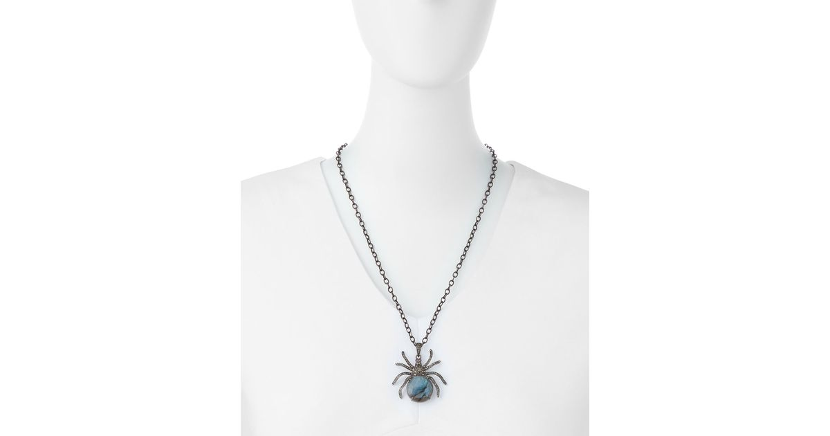 Lyst siena jewelry diamond labradorite spider pendant necklace in lyst siena jewelry diamond labradorite spider pendant necklace in metallic aloadofball Image collections