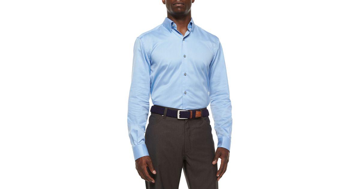 Ermenegildo zegna 3 ply cotton dress shirt in blue for men for 2 ply cotton dress shirt
