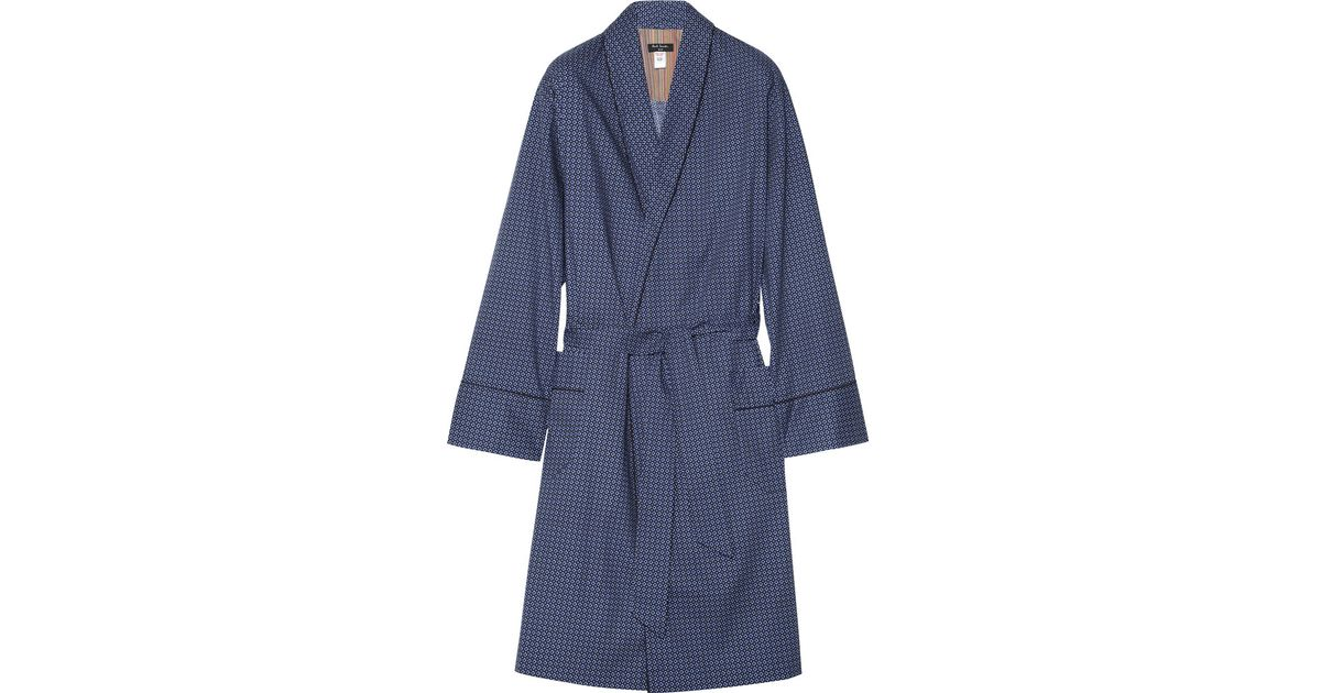 Paul Smith Printed Cotton Dressing Gown in Blue for Men - Lyst