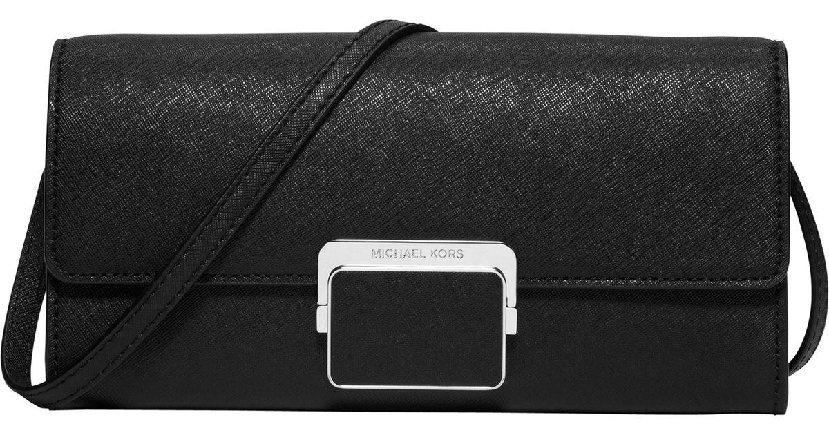 200b93756e9d Michael Michael Kors Cynthia Large Leather Clutch Bag in Black - Lyst