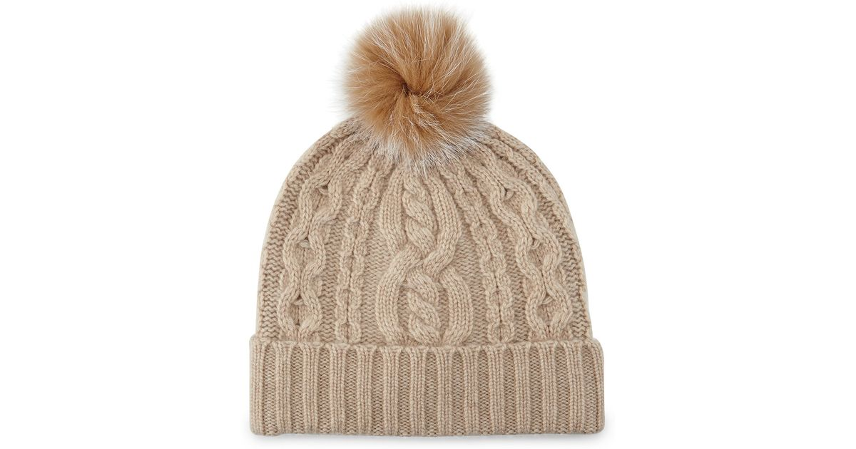 Knitting Pattern Cashmere Hat : Sofia cashmere Cable-knit Cashmere Beanie Hat W/ Fur Trim in Beige (GRAY) Lyst