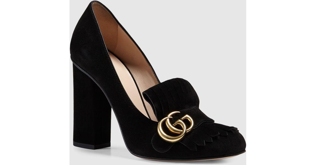 d75a07dff15 Lyst - Gucci Suede Pump in Black
