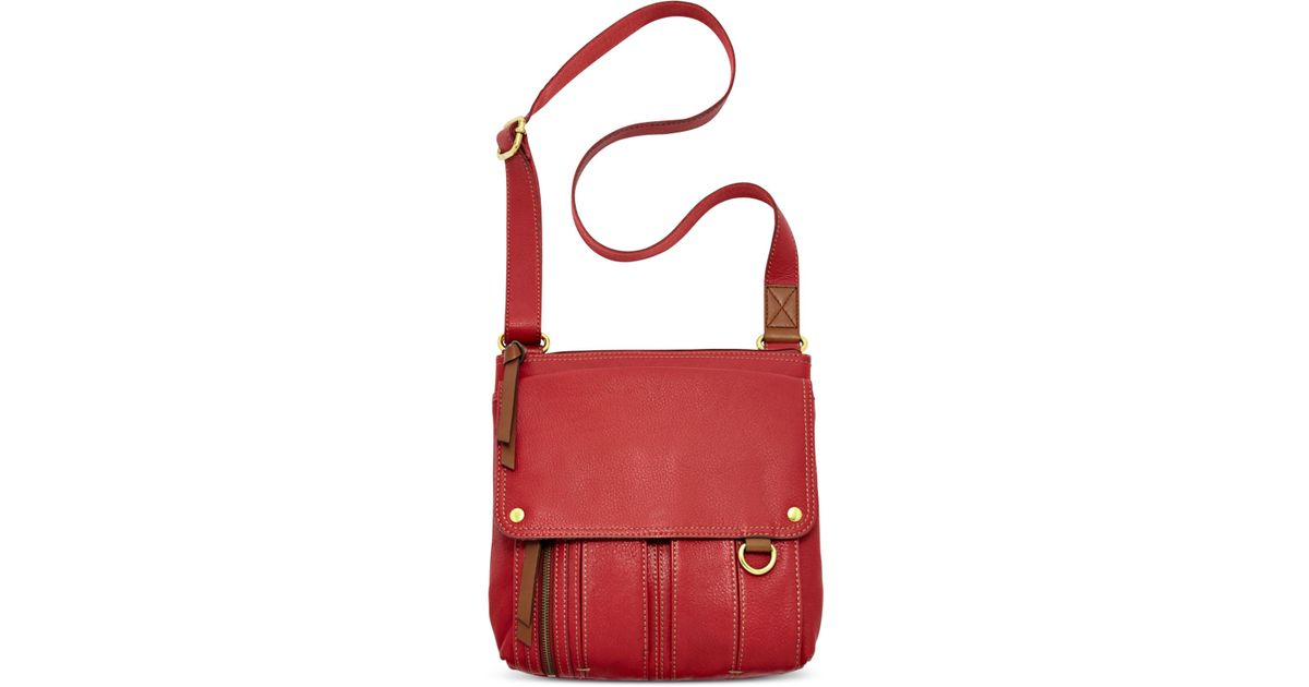 79c270eea4 Fossil Morgan Leather Traveler Crossbody Bag in Red - Lyst