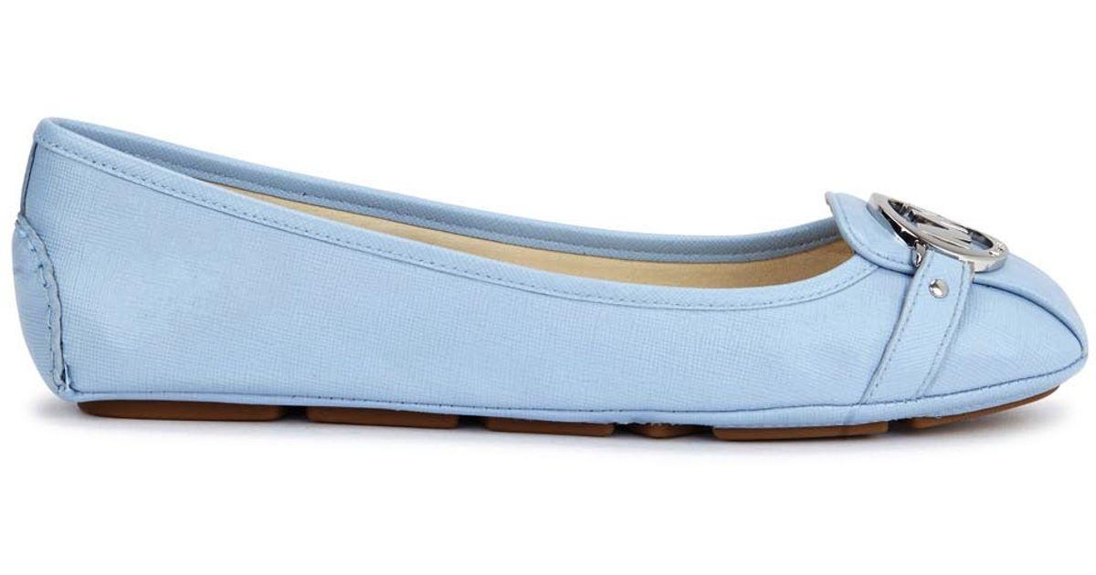1e8c938cc956 Michael Kors Fulton Moc Blue Saffiano Leather Flats in Blue - Lyst