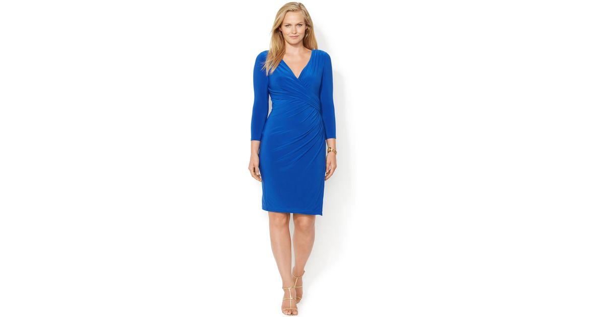 Lauren by Ralph Lauren Plus Size Faux-Wrap Dress in Blue - Lyst
