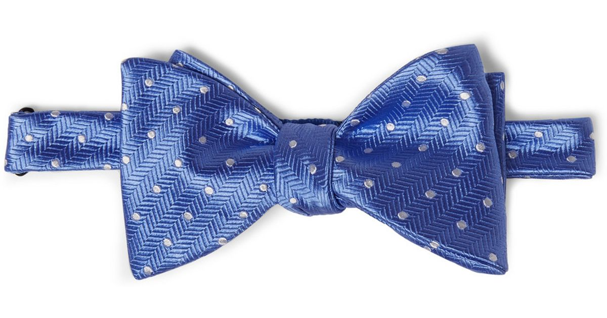 turnbull asser patterned silk bow tie in blue for lyst