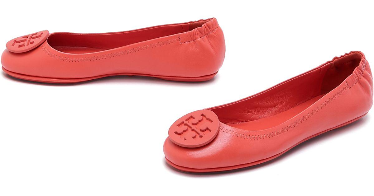 9cd225fd5d149d Lyst - Tory Burch Minnie Travel Ballet Flats - Poppy Red in Red