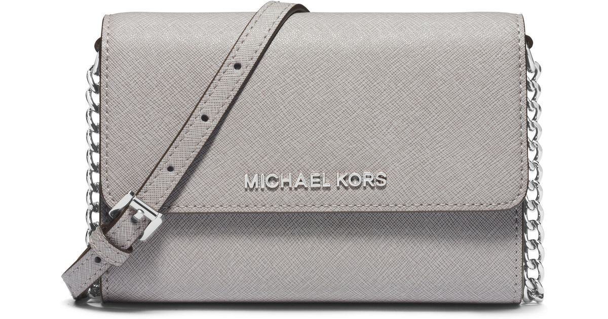 e194a198aac4 MICHAEL Michael Kors Jet Set Travel Large Saffiano Leather Smartphone  Crossbody Bag in Gray - Lyst