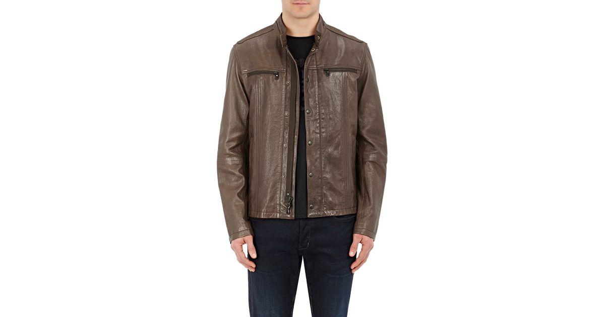 john varvatos leather cafe racer jacket in brown | lyst