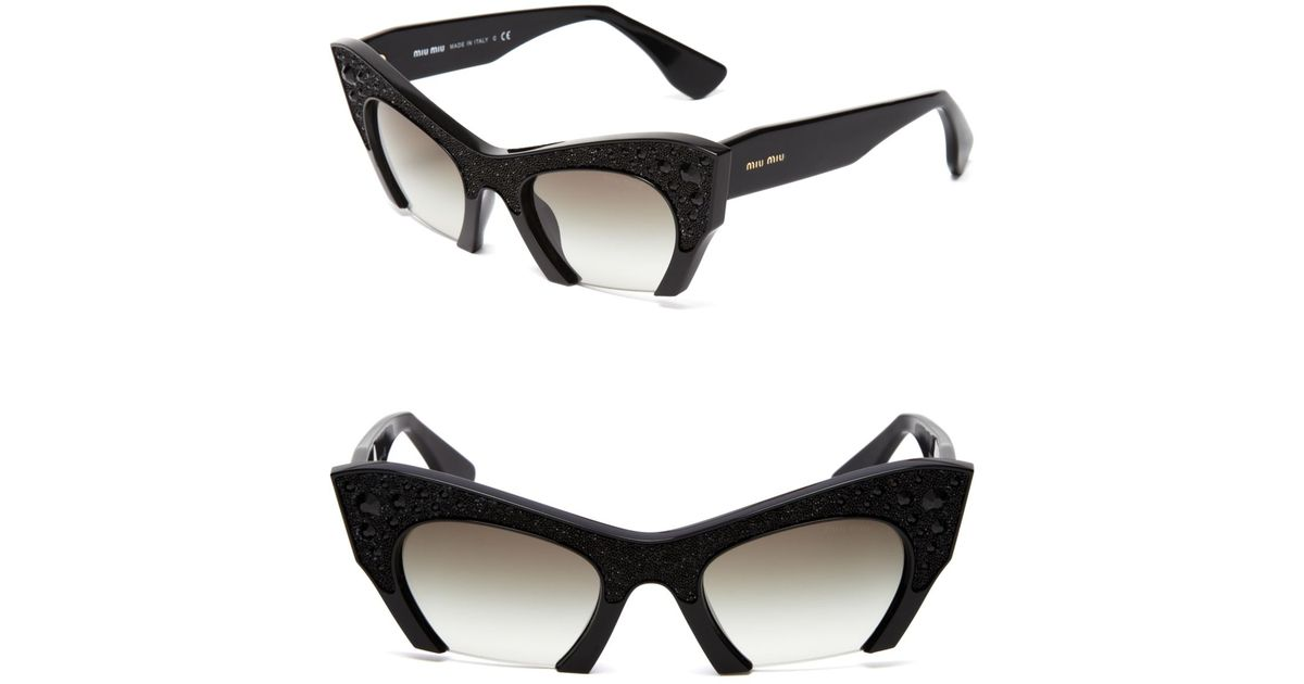 b95ef96a85 Lyst - Miu Miu Semi-Rimless Embellished Cat Eye Sunglasses in Black