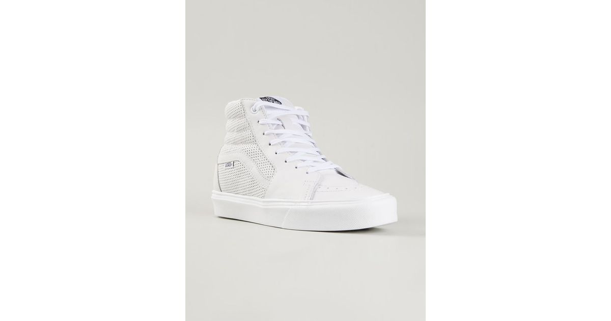a1c55083ba Lyst - Vans SK8-Hi Lite Leather Sneakers in White for Men