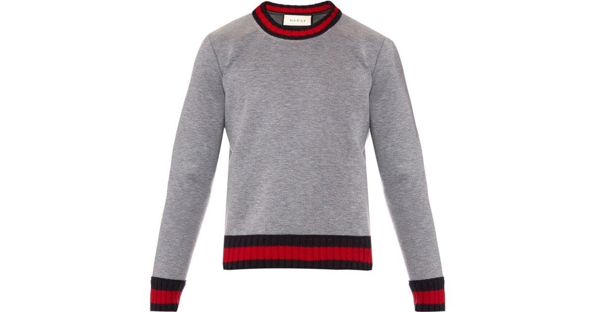 7159d09fea72bb Lyst - Gucci Crew-neck Neoprene Sweatshirt in Gray for Men