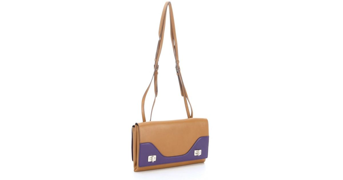 Prada Tan And Purple Leather Double Flap Shoulder Bag in Brown ...