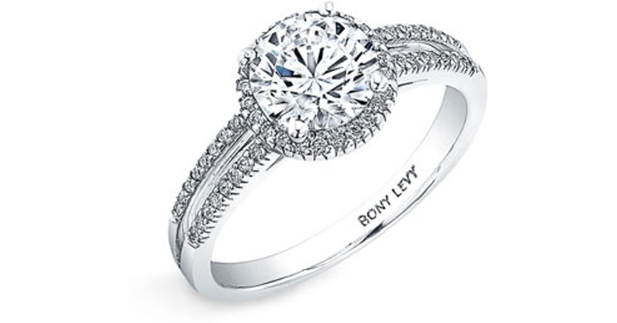 levy jewelry lyst bony levy pave two row engagement ring 5933