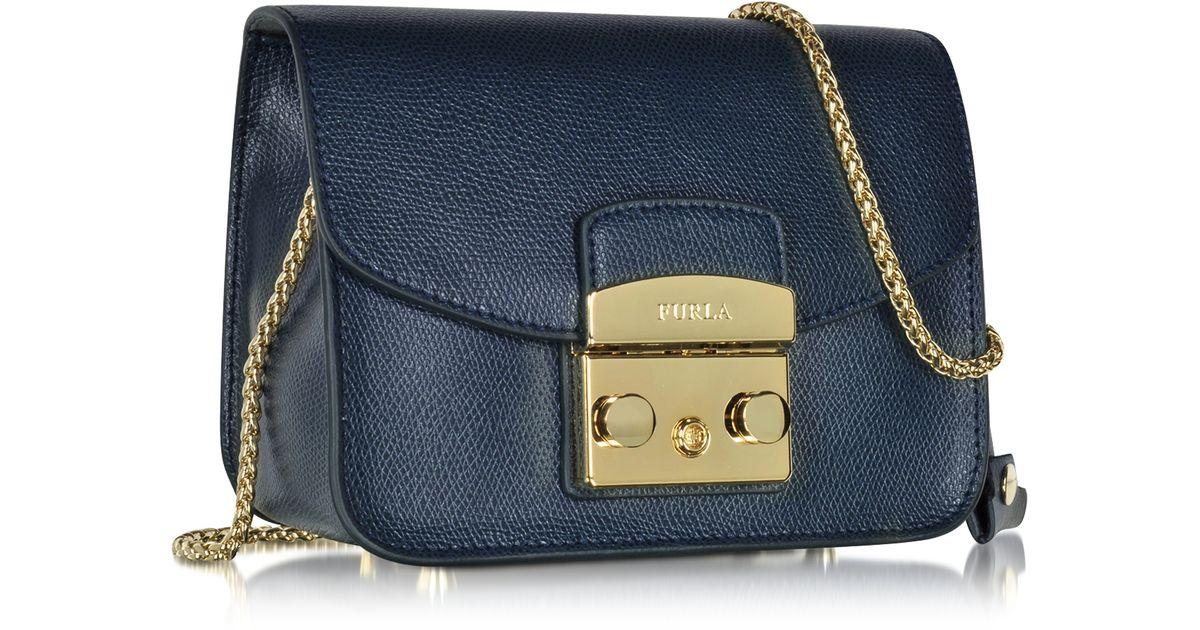 Furla Metropolis Navy Leather Shoulder Bag in Blue | Lyst