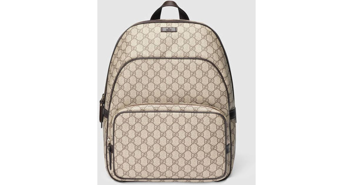 Lyst - Gucci Gg Supreme Zip Backpack in Brown