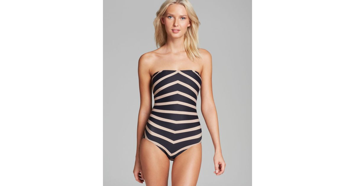 2d9288b7c0 Lyst - DKNY Empire Stripes Bandeau Maillot One Piece Swimsuit in Black