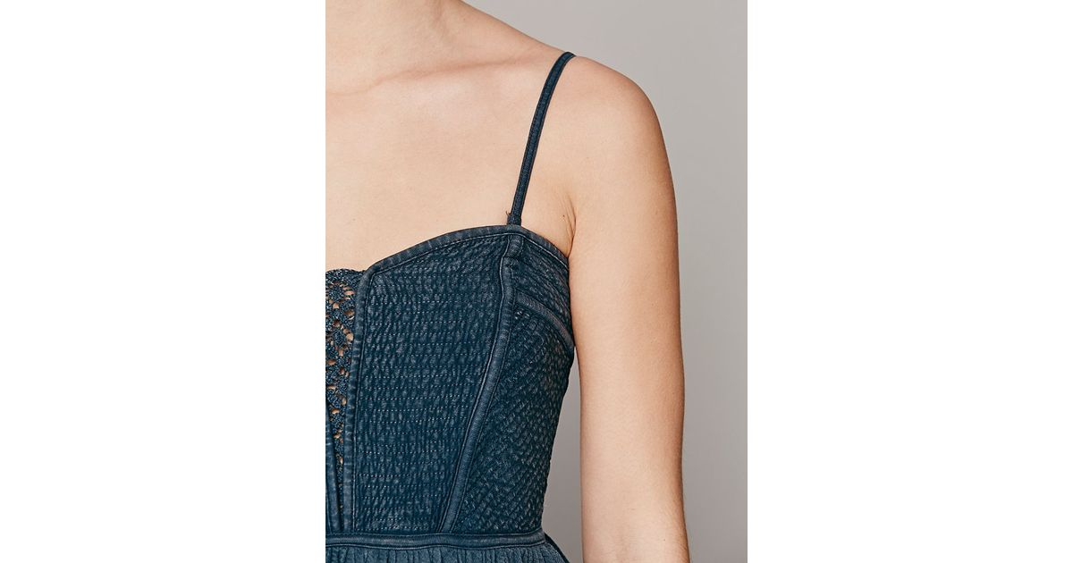 87fbb0b59b Lyst - Free People Wild Woods Tube Top in Blue