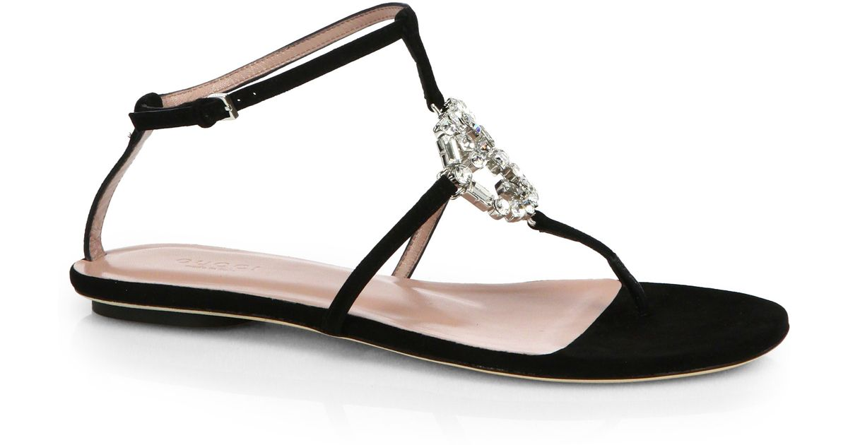 39cee57e97f5 Lyst - Gucci GG Crystal Leather and Suede Sandals in Black