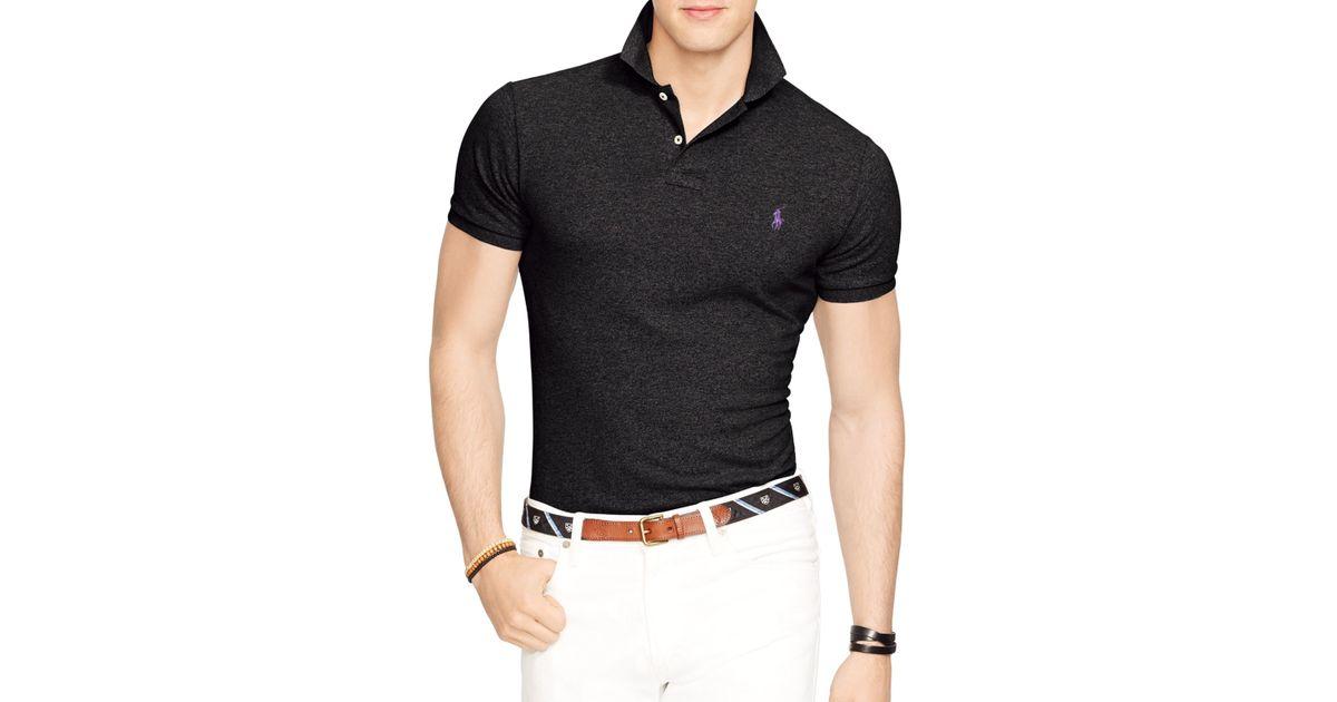 3eeec3c04 Ralph Lauren Polo Slim-fit Mesh Polo Shirt in Black for Men - Lyst