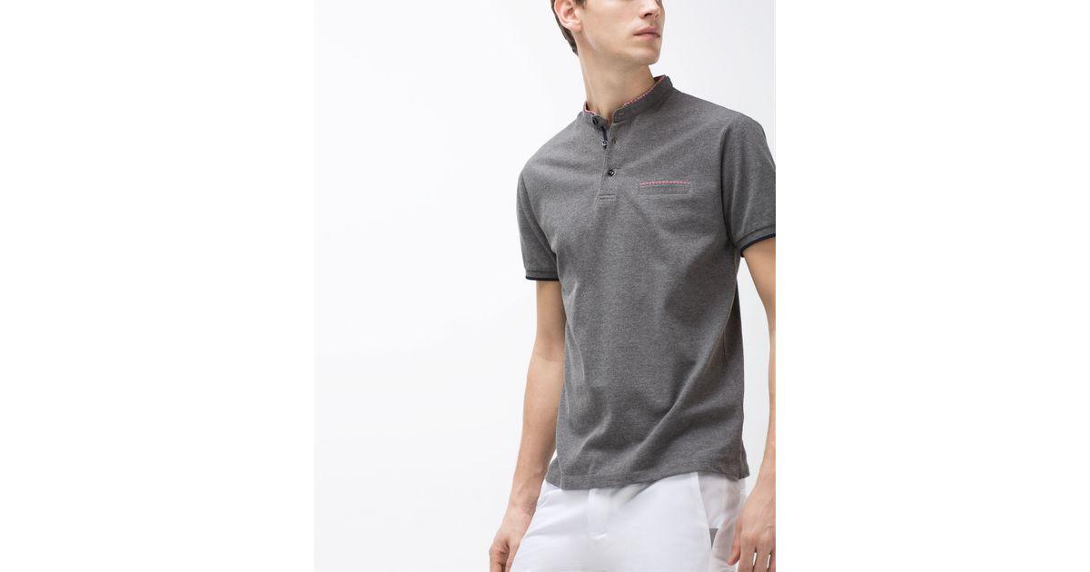 Zara mandarin collar polo shirt in gray for men lyst for Zara mens shirts sale