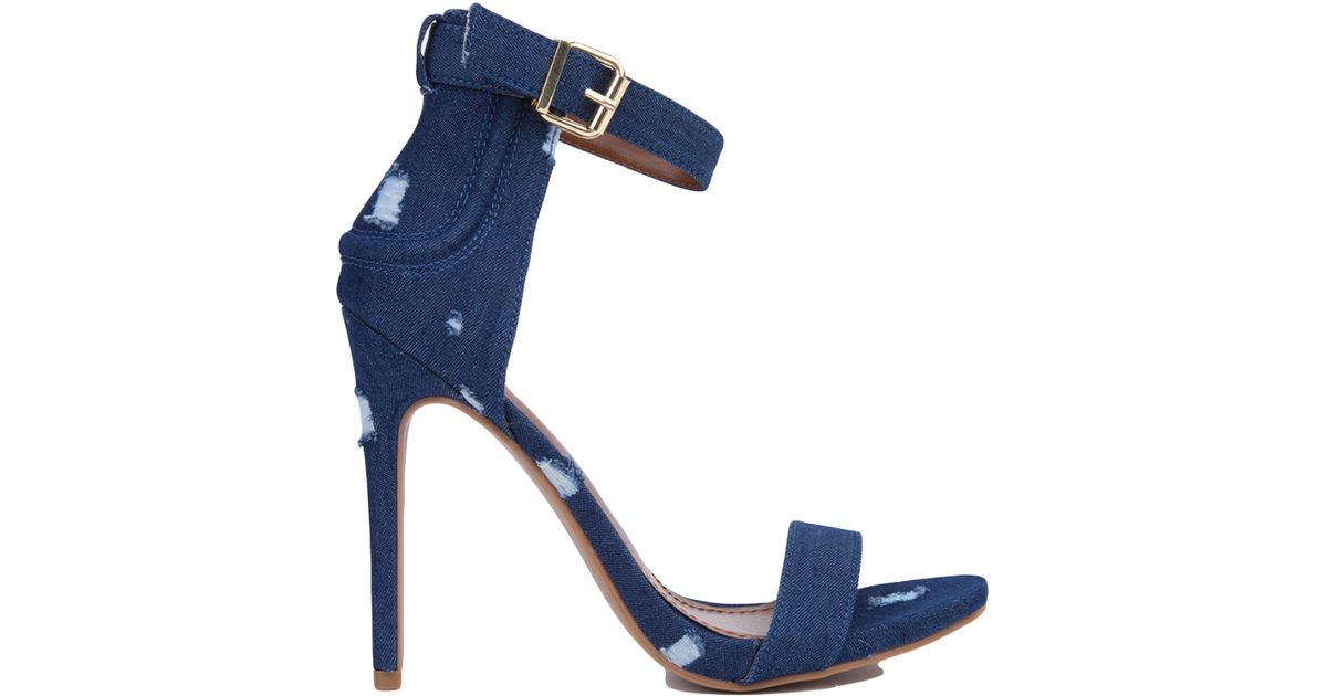 Lyst - Akira Distressed Denim Heeled Sandals - Dark Blue in Blue
