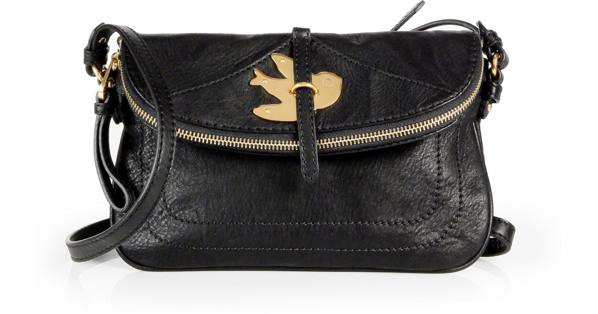 Marc By Marc Jacobs Petal To The Metal Percy Bird Leather Shoulder Bag in  Black - Lyst 39cd8e2b8f8d