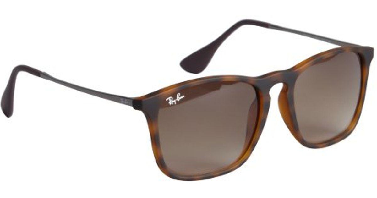 19585314283 denmark ray ban brown havana rubberized chris square sunglasses in brown  for men lyst 0d71e 10fac