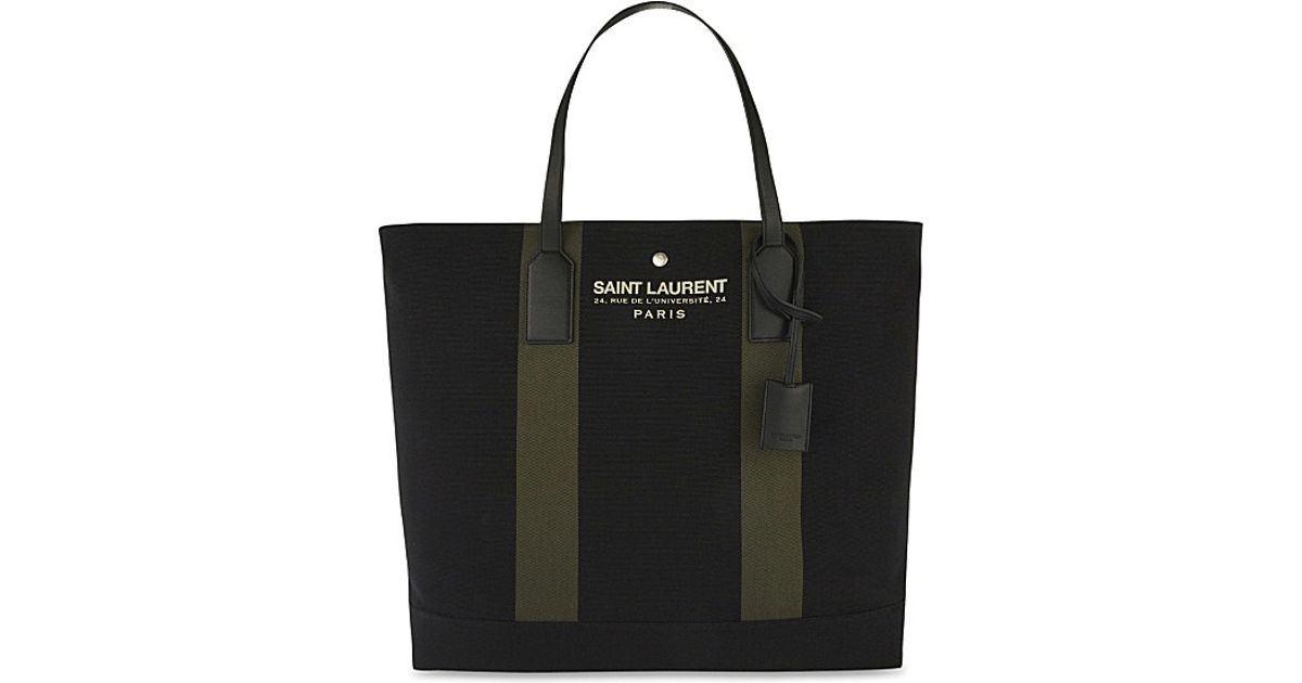 Saint laurent Branded Canvas Tote in Black | Lyst