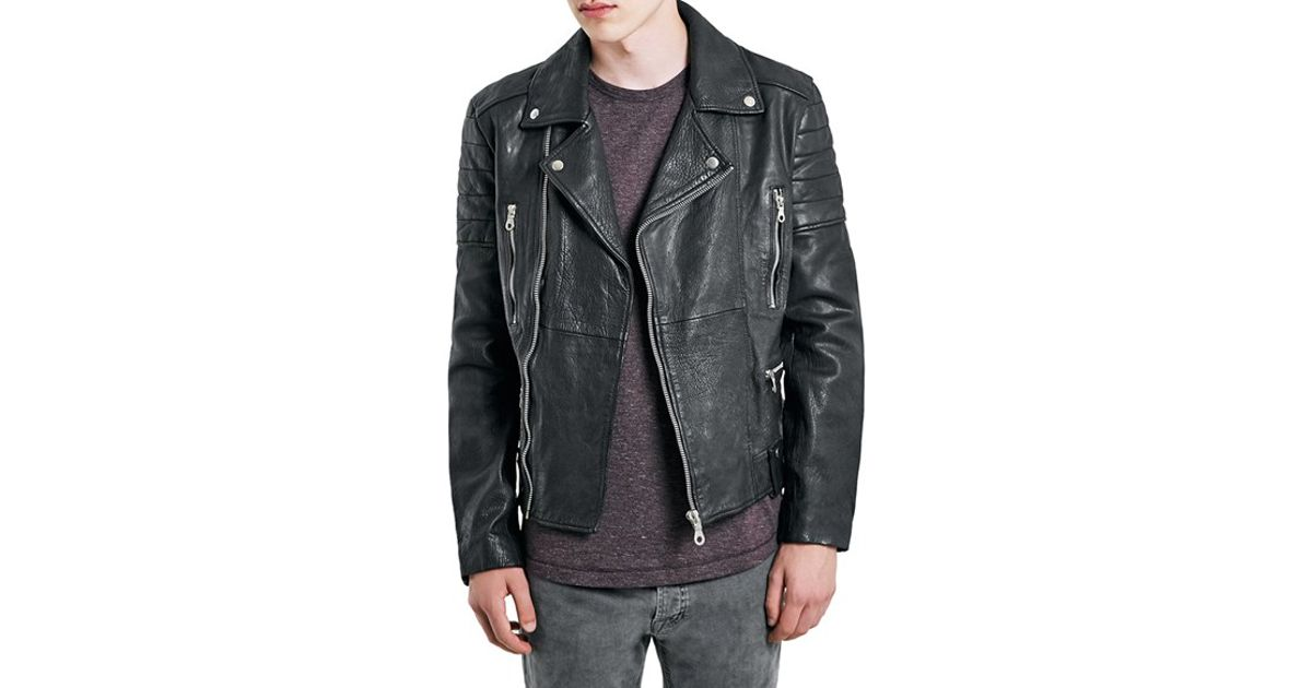 Lyst Topman Leather Biker Jacket In Black For Men