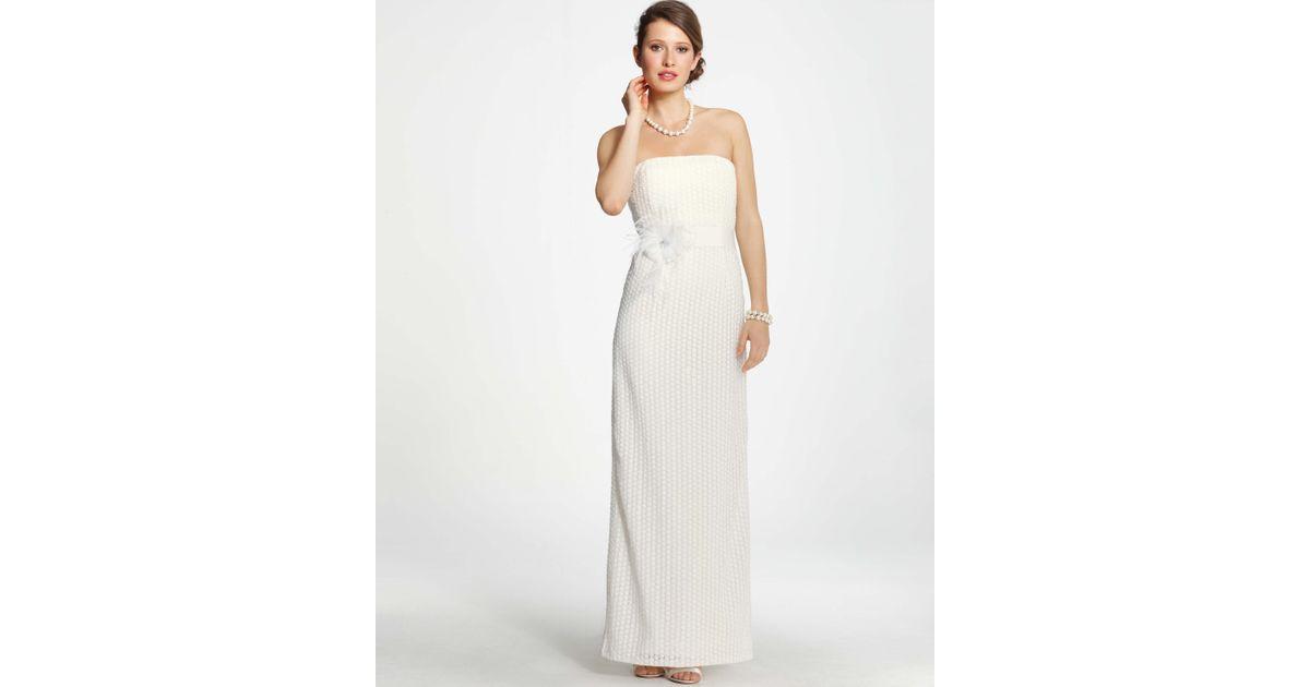 Lyst - Ann Taylor Lace Column Wedding Dress in White