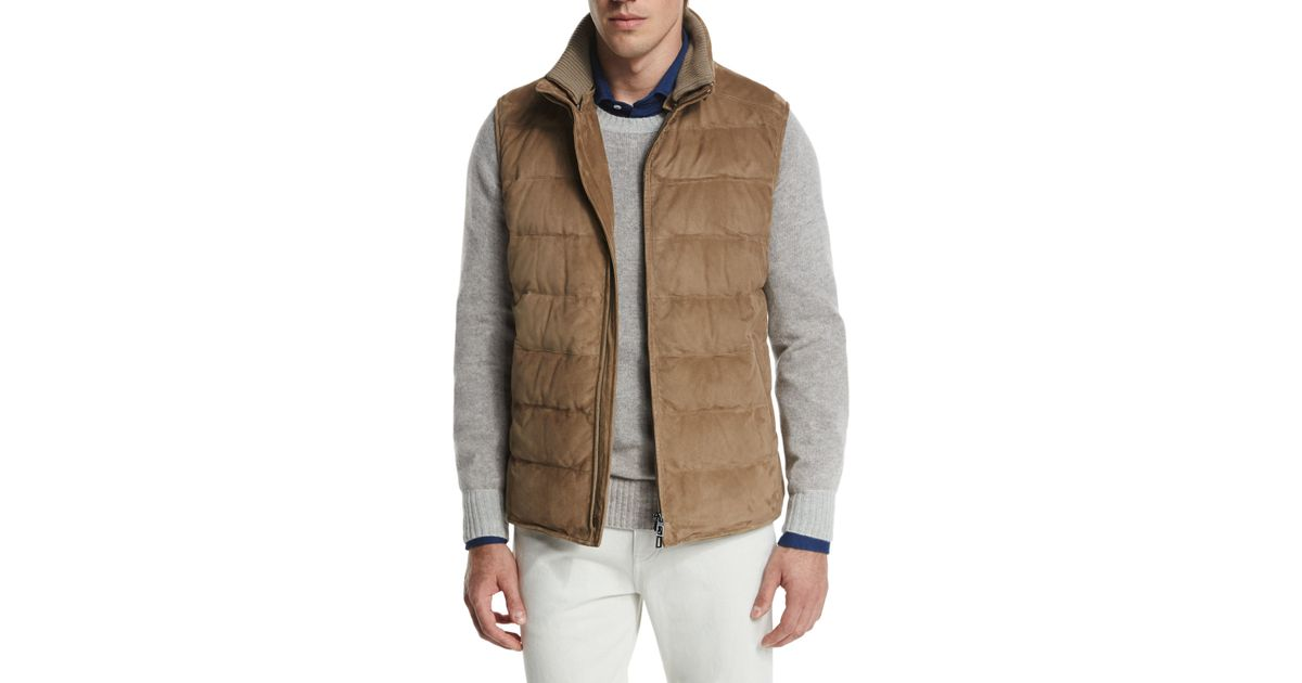 Loro Piana New Cortina Quilted Suede Vest In Brown For Men