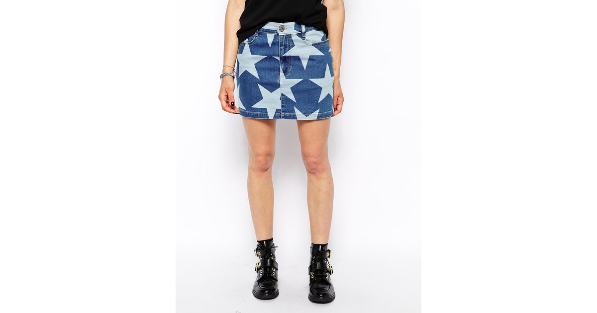 7256a71ed8 Vivienne Westwood Anglomania Mini Denim Skirt With All Over Star Print in  Blue - Lyst