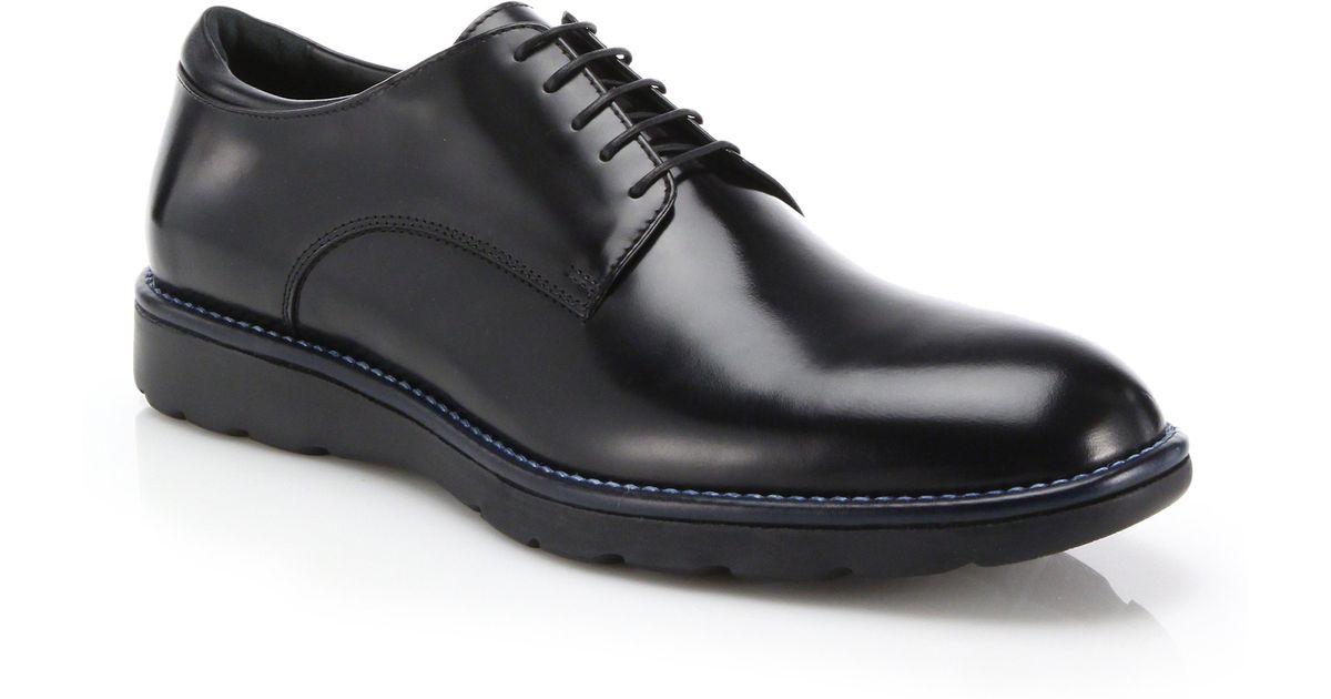 Z Zegna Leather Plain Toe Derby Shoes In Black For Men Lyst
