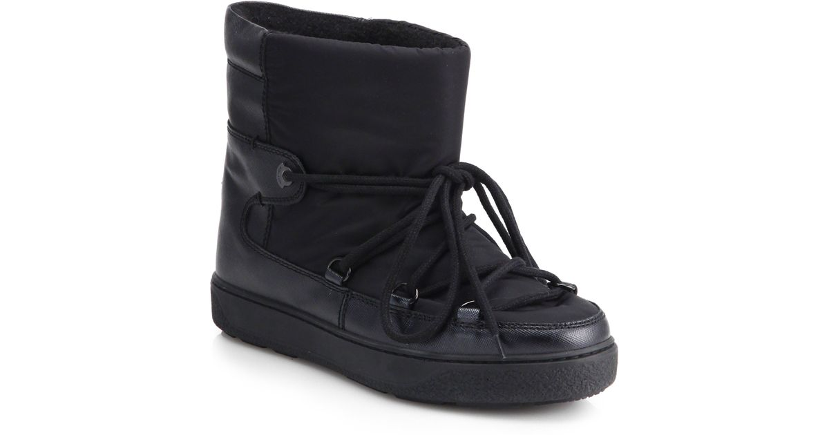 9e396d4efc0f Lyst - Moncler Fanny Leather Nylon Ankle Boots in Black