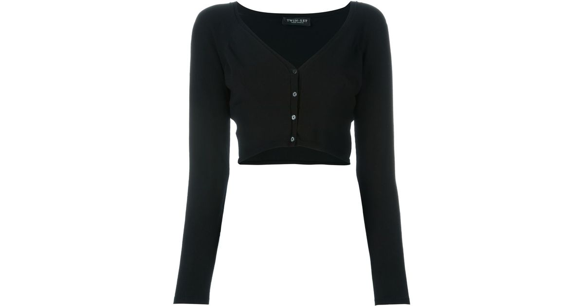 Twin set Cropped Cardigan in Black | Lyst