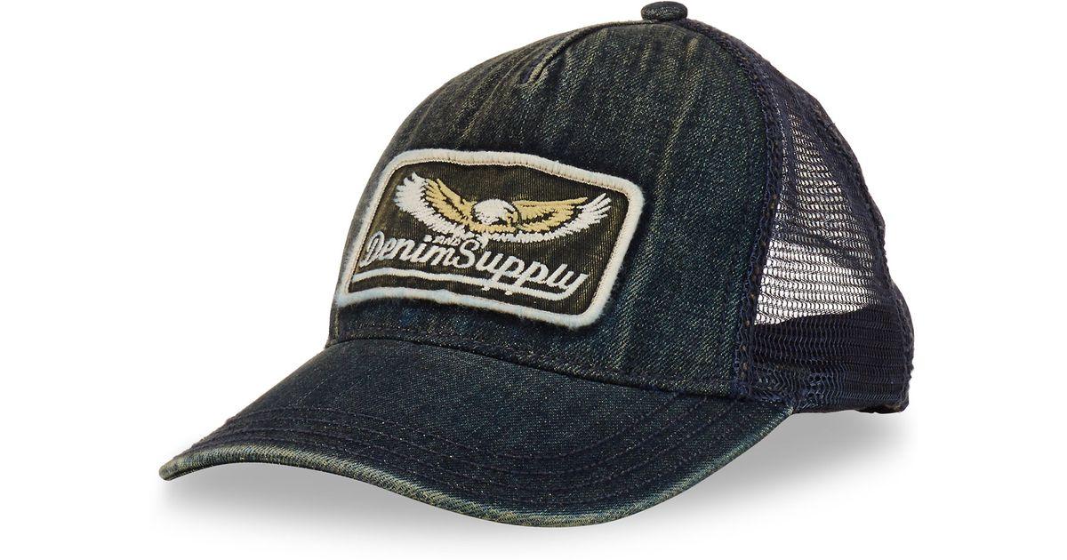 Lyst - Denim   Supply Ralph Lauren Washed Denim Trucker Hat in Blue for Men 8c48c35d6ab