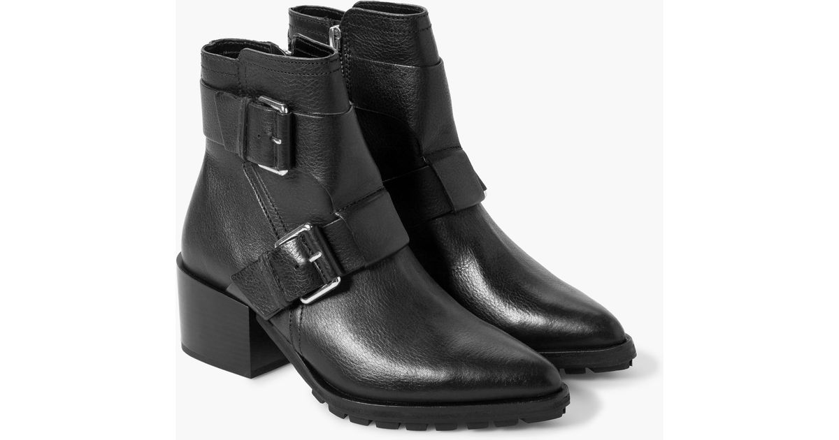 Lyst - Mango Buckle Leather Ankle Boots in Black 892f1448df31